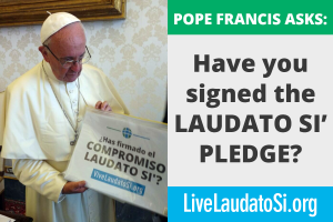 The pope holding the laudato si pledge