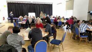 Table groups work on the budgeting exercise