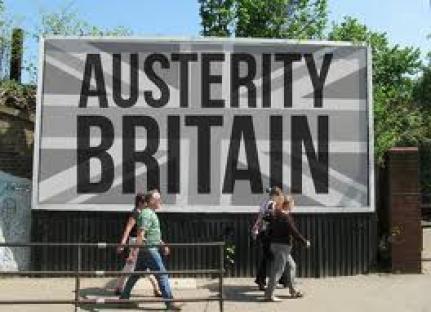 billboard saying Austerity Britain