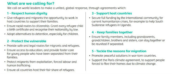 The main demands of Share the Journey campaign