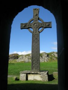 Celtic cross framed in doorway