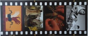 still photos from films on a filmstrip