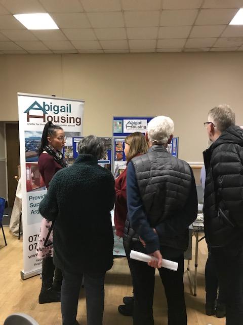Abigail housing stall at meeting