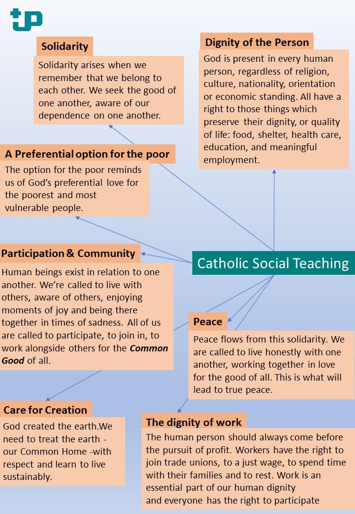 the main principles of catholic social teraching in a diagram
