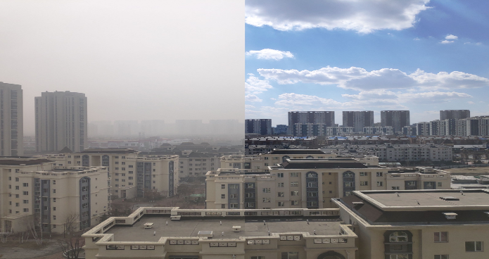 buildings showing the impact of pollution